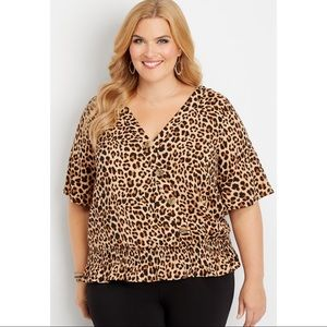 MAURICES LEOPARD PRINT BUTTON FRONT BLOUSE CUTE